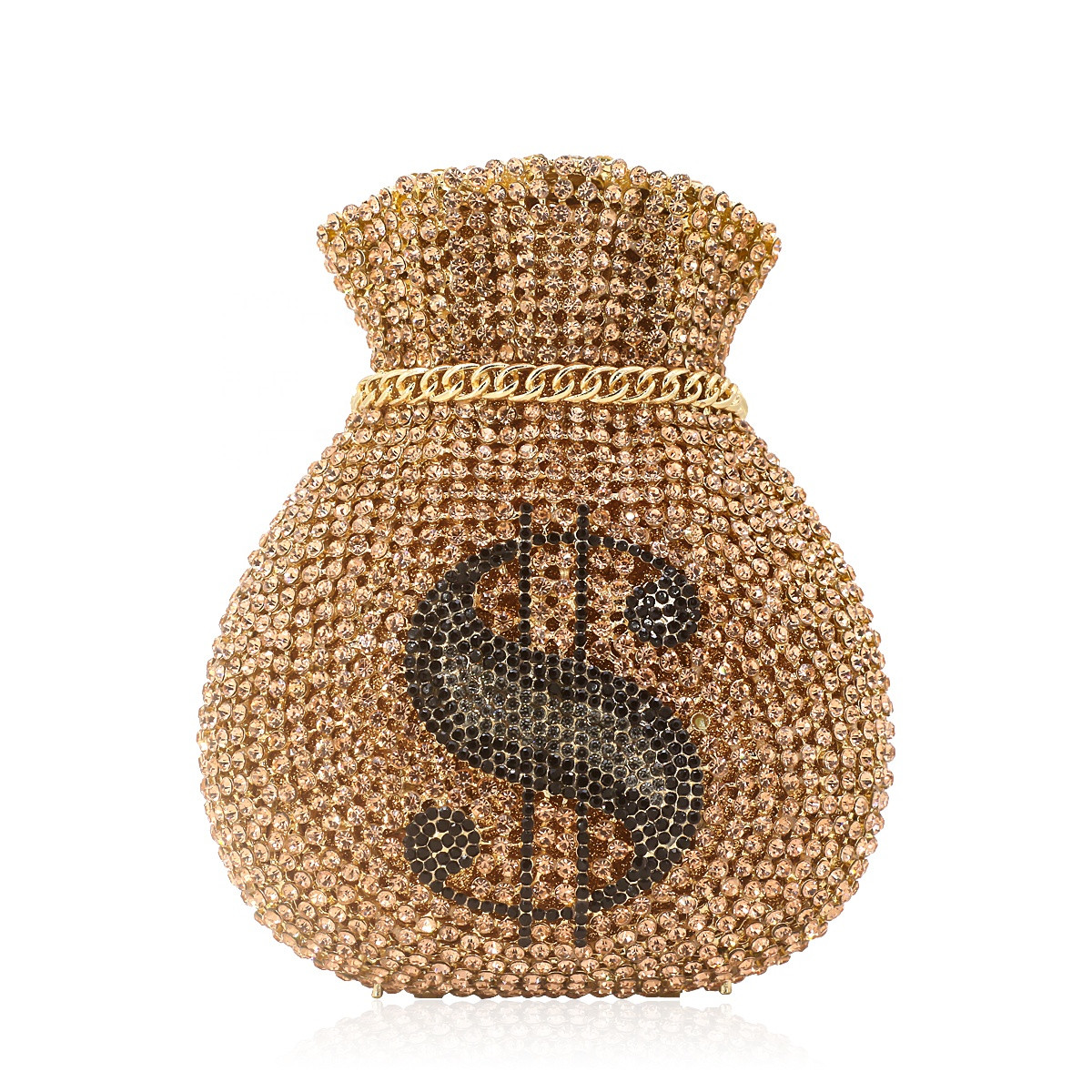 Bag For Women Luxury Women Evening Party Designer Bridal Wedding Bag Funny Money Dollar Hollow Out Crystal Clutches Purses Pouch-BeeInFly