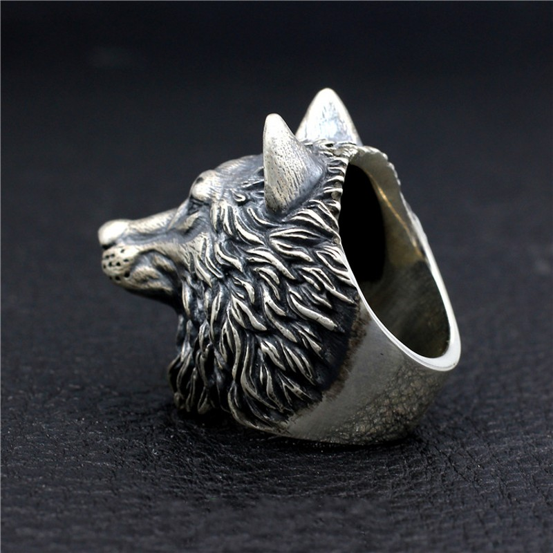 Loup roi nouveau S925 bague en argent Sterling fait à la main loup Totem corihan Locomotive Punk dominateur hommes tête de loup bague en argent - 3