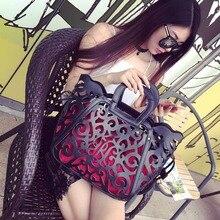 Casual Tote Womens Bag Luxury Hollow Out Handbags Designer Travel Fashion big Shoulder Bags Females Pu Leather orange