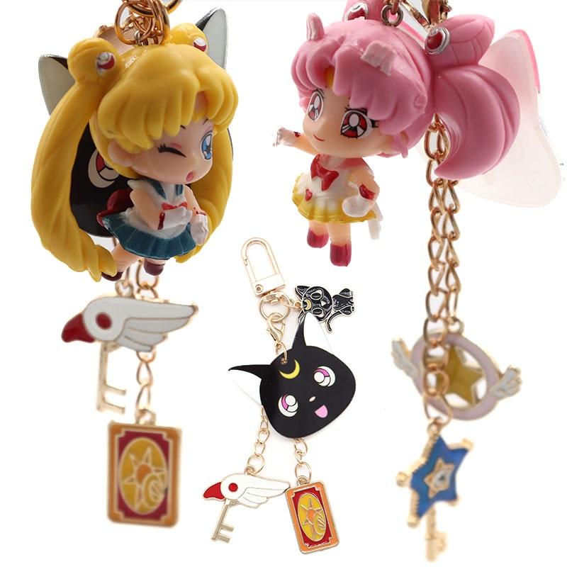 Childhood Anime Trinket Keychain Star Moon Keyrings Beautiful Jewelry Car Bags Keyholder Women Girl Kawaii Gift