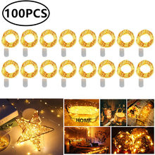 Batterie Powered 10 20 LEDs Mini Weihnachten Licht Kupfer Draht String Licht für Hochzeit Weihnachten Girlande Party Indoor Dekoration 100 pcs(China)