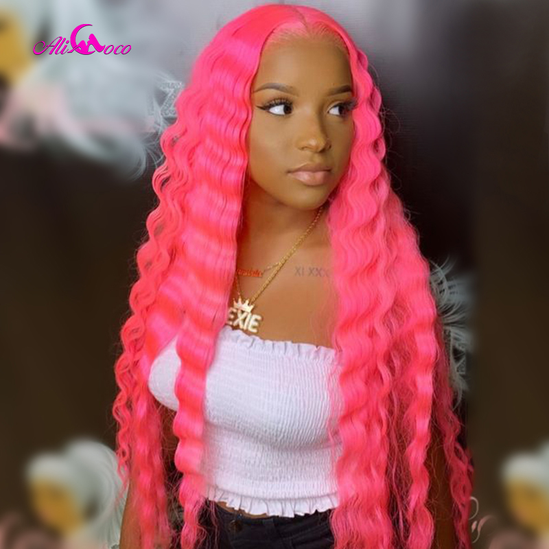 Ali Coco 613 Deep Lace Front Wig Pre Plucked 150% Density 13X4 Pink Green Red Purple Deep Wave Lace Front Human Hair Wigs