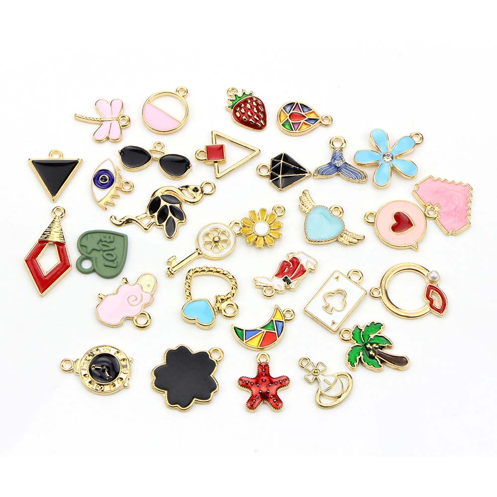 10pcs Filigree Leaf Charms Pendant Mixed Color DIY Jewelry Beads