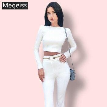 Women's bandages new 2019 summer celebrity party white long-sleeved 2 piece set bandage jumpsuit gold belt fashion Vestidos sex