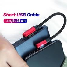 FONKEN 25 см Тип C usb-кабель Мощность банк Портативный зарядный кабель Micro USB для Usbc короткий USB Зарядное устройство для смартфона или планшета жил...