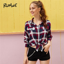 купить ROMWE Plaid Curved Hem Blouse Women Tops 2019 Preppy Long Sleeve Blouse Button Up Shirt Casual Placket Shirts Ladies Fall Tops онлайн
