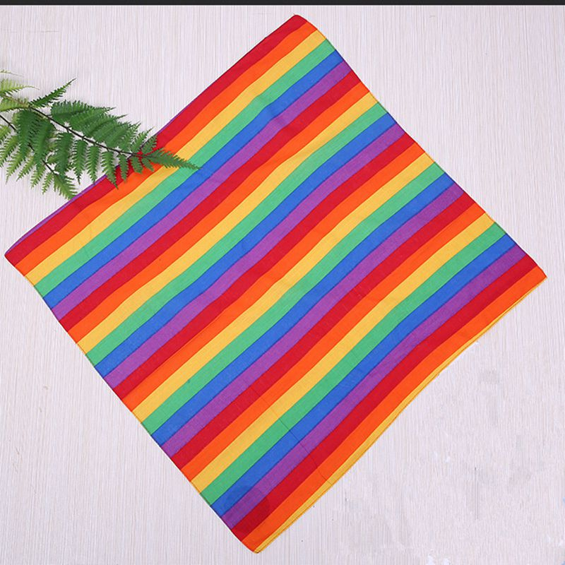 4Pcs Cotton Outdoor Stripe Rainbow Scarf Square Sports Colour Striped Headscarf Square Scarf QDD9792