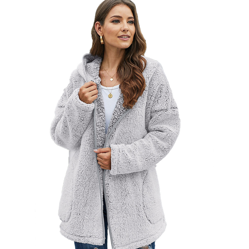 Women Fur Coat Autumn Winter With Fur Trim Hooded Fahsion Open Stitch Slim Thick Warm Fur Teddy Jacket Plus Size Teddy Bear Coat