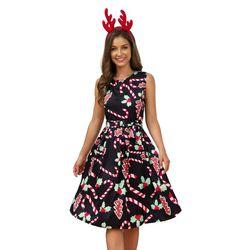 Plus Size Woman Vintage Dress Santa Christmas Retro Xmas Printed O-Neck Sleeveless Swing Dress Sexy Women Clothing Hot 5