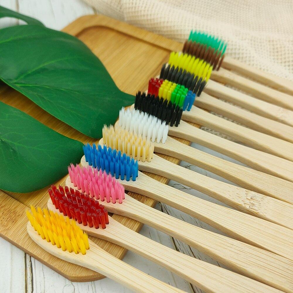 10 штук/упаковка зубная щетка из натурального бамбука набор зубные щетки с мягкой щетиной для отбеливания зубов с активированным углем бамб...