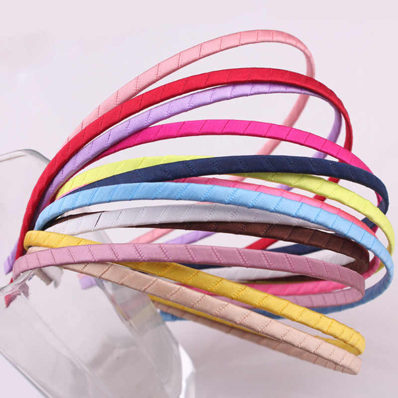 5mm Colored Satin Covered Resin Hairbands,For Children Solid Satin Hair Band DIY Headband,Satin Head Hoop