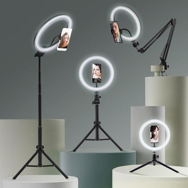 Selfieแหวนแสงการถ่ายภาพLedขอบโคมไฟโทรศัพท์มือถือขนาดใหญ่ขาตั้งกล้องRinglightสำหรับสตรีมมิ่งวิดีโอสด
