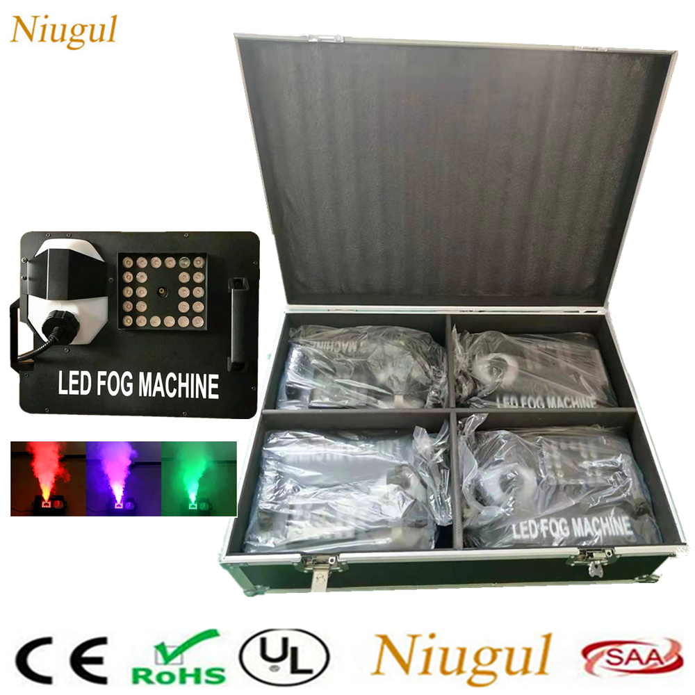 4pcs 1500W Fog Machine DMX512 Smoke Machine With 24x9W RGB LED Lights Professional Stage DJ/Bar/Home Fogger Optional Flight Case