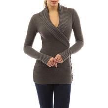 Nowa jesienna damska na co dzień typu Wrap z długim rękawem dekolt w serek Slim dziany sweter sweter solidna z koronkowym z wiązaniem zapinana na guziki zimowe bluzki dla kobiet top tanie tanio COTTON Z wełny Wool Komputery dzianiny Stałe REGULAR V-neck Osób w wieku 18-35 lat Swetry N45756 Pełna NONE STANDARD
