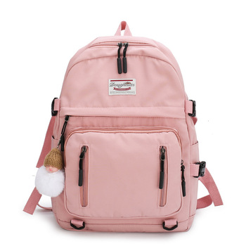Pink Canvas School Bags for Teenage Girls Backpack Women Bag School Big Bookbags Solid Student Teen Schoolbag Preppy  New