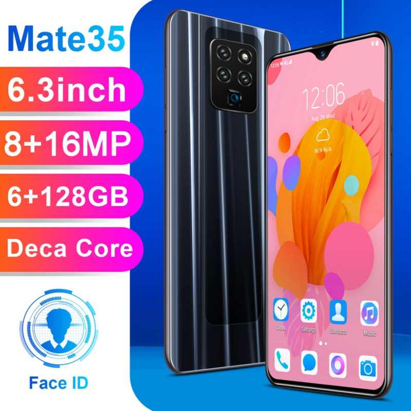 Mate35 6.3 Inch 4G Smartphone 6GB RAM 128GB ROM Air Drop Ponsel Layar Sidik Jari & Wajah pengakuan Membuka Ponsel