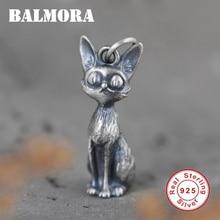 BALMORA Original 100% 925 Pure Silver Cute Fox Pendant For Women Men Animal Pendant Thai Silver Jewelry Gift Without Chain