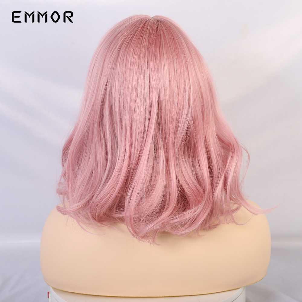"""EMMOR 14 """"włosy syntetyczne różowe kolory krótkie peruki z falą wodną dla białych/czarnych kobiet włókno termoodporne codzienne pełne sztuczne włosy"""