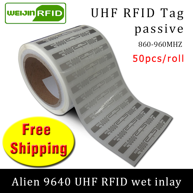 RFID Tag UHF Sticker Alien 9640 Wet Inlay 915mhz868mhz 860-960MHZ Higgs3 EPC 6C 50pcs Free Shipping Adhesive Passive RFID Label