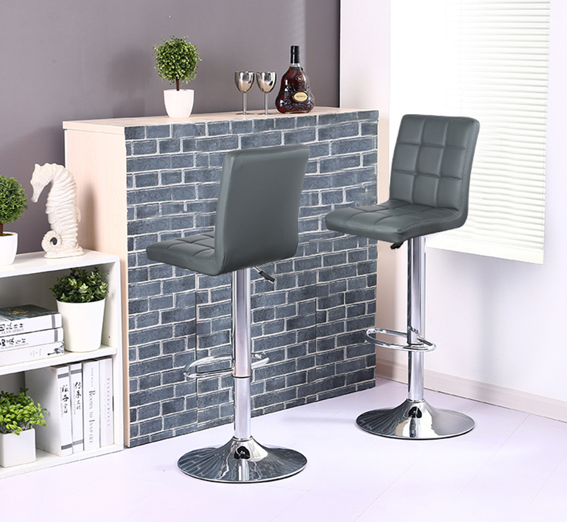 2pcs Grey Bar Chairs Modern Simplicity Height Adjustable Lifting Chair Kitchen Bar Breakfast Bar Stool HWC