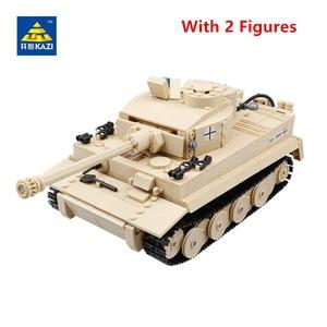 Image 2 - 995Pcs 독일어 킹 타이거 탱크 모델 빌딩 블록 세트 군사 기술 WW2 육군 군인 DIY Brinquedos 벽돌 아이 장난감