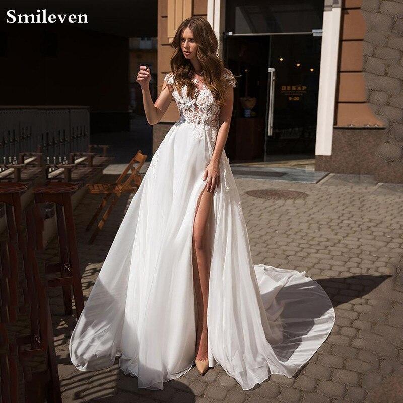Smileven White Beach Wedding Dress 2020 A Line  Boho Bride DressesHigh Side Split Vestido De Novia Cap Sleeves Wedding Gowns