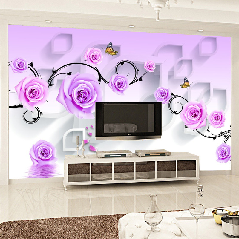 Pastoral Style 3D Wallpaper Large Living Room Television Background Wall Mural Purple Roses Film And Television Wall Cloth