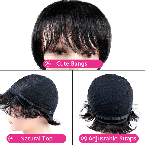 Non Lace Short Human Hair Wigs Pre Plucked Brazilian Straight Pixie Cut Bob Wigs with Bang For Black Women Non Remy Bling Hair Islamabad