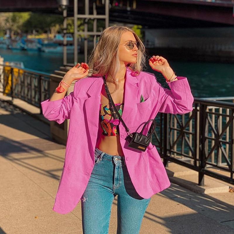 Foridol cotton linen pink blazer jacket women casual streetstyle white office ladies business blaer coat chic autumn tops 2020
