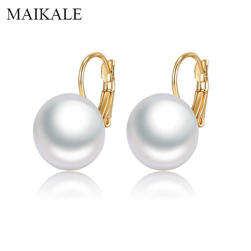 MAIKALE Simple Oval White Red Big Pearl Earrings for Women Gold/Silver Color Plated Drop Earrings with Pearl Party Jewelry Gifts