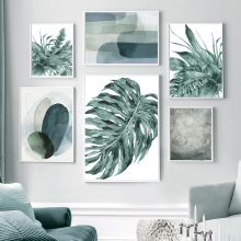 Minimalist Color Block Monstera Leaf Wall Art Canvas Painting Nordic Posters And Prints Wall Pictures For Living Room Home Decor beautiful peacock feather minimalist nordic posters and prints wall art canvas painting wall pictures baby kids room home decor