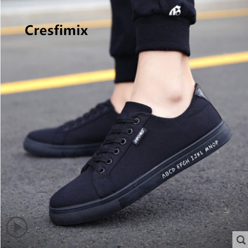 Cresfimix Zapatos Hombre Male Fashion Comfortable Black & Golden Canvas Shoes Men High Quality Spring & Autumn Shoes C3083