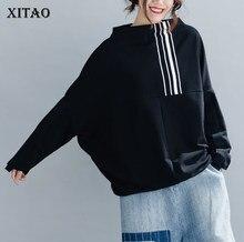 XITAO – sweat-shirt imprimé à rayures pour femme, vêtement ample à la mode, manches chauve-souris, grande taille, ZLL3289