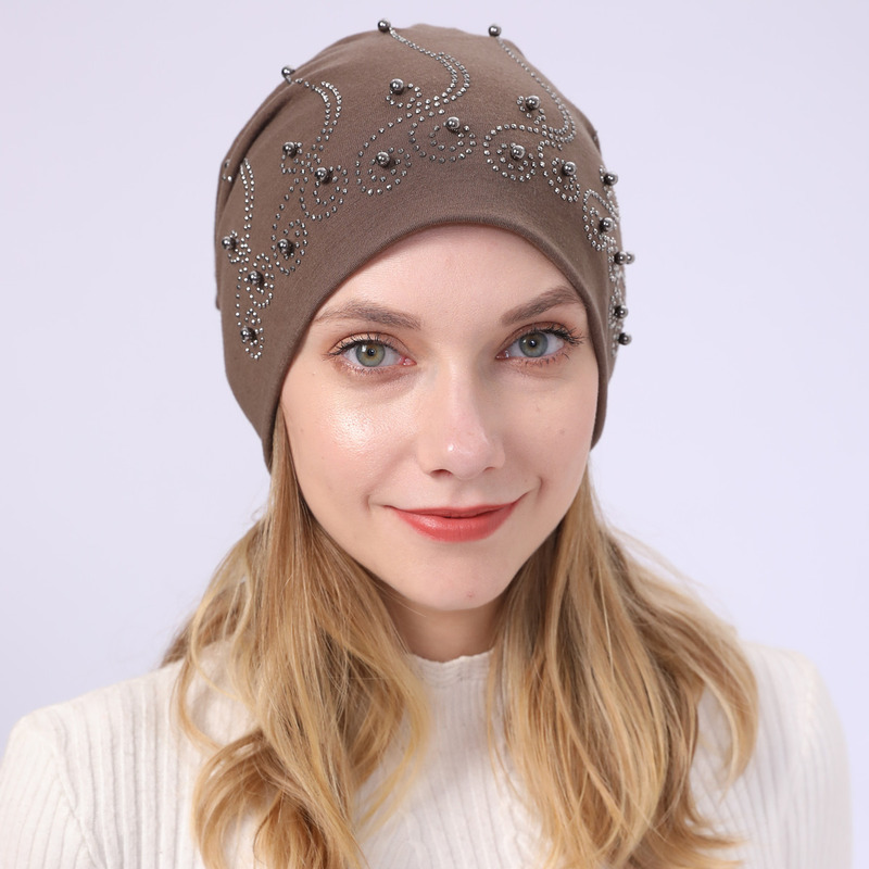 Sparsil Women Men Cotton Pearl Beanies Cap Muslim Turban Hat Hair Headwear Girl Winter Autumn Double Layer Pile Up Caps Girl