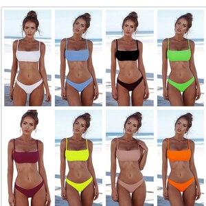 Image 1 - New 2020 Solid Sexy Bikini Set Women Swimming Suit Fashion Swimsuit Two Piece Swimwear Bathing Suit Female Biquini Plus Size