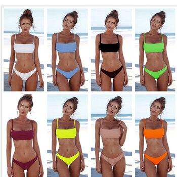 New 2020 Solid Sexy Bikini Set Women Swimming Suit Fashion Swimsuit Two-Piece Swimwear Bathing Suit Female Biquini Plus Size