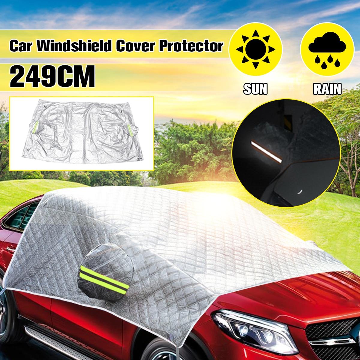 Universal Car Cover Windshield Mirror Reflective Bar Sun Shade Ice Hot Rain Dust Frost Guard Aluminium Film Sun Shelter Car Covers Automobiles & Motorcycles - title=