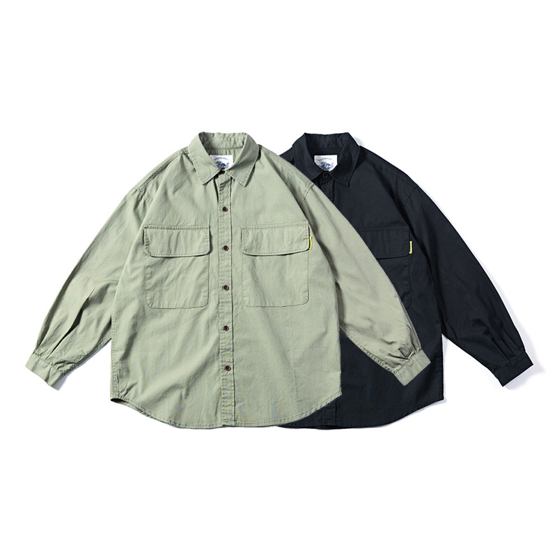 Tide Brand Tooling Shirt Male Japanese Retro Military Style Long Sleeve Multi-pocket Loose Jacket Men