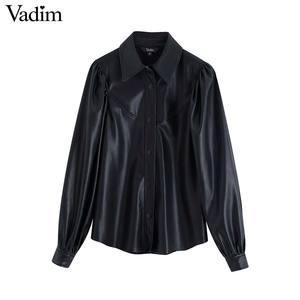 Image 1 - Vadim frauen stilvolle PU leder blusen langarm drehen unten kragen shirts weibliche büro tragen grundlegende tops blusas LB722