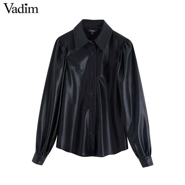 Vadim women stylish PU leather blouses long sleeve turn down collar shirts female office wear basic tops blusas LB722