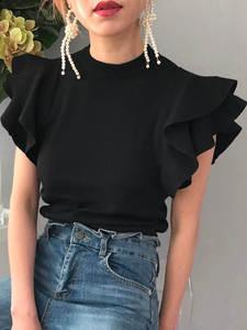 Tops Tees Tshirt Short-Sleeve Knitted Ruffles White Black Elegant Korean-Fashion Ladies