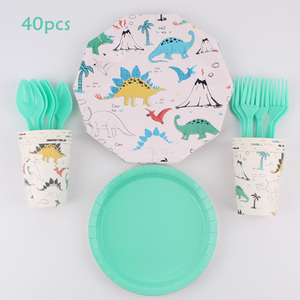 Cartoon dinosaur theme party paper cup dish napkin straw tablecloth boy birthday party decoration disposable tableware party sup