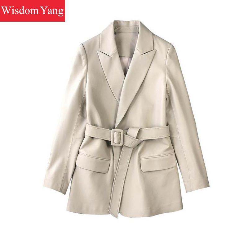 Spring Winter Sheepskin Genuine Leather Coat Jackets Suits Women Vintage Ladies Elegant Overcoat Short Wrap Suit Coat Outerwear