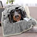 3D животное такса пледы одеяло на кровать собака плюшевое шерпа одеяло бульдог покрывало трещины кирпичи стены тонкое одеяло