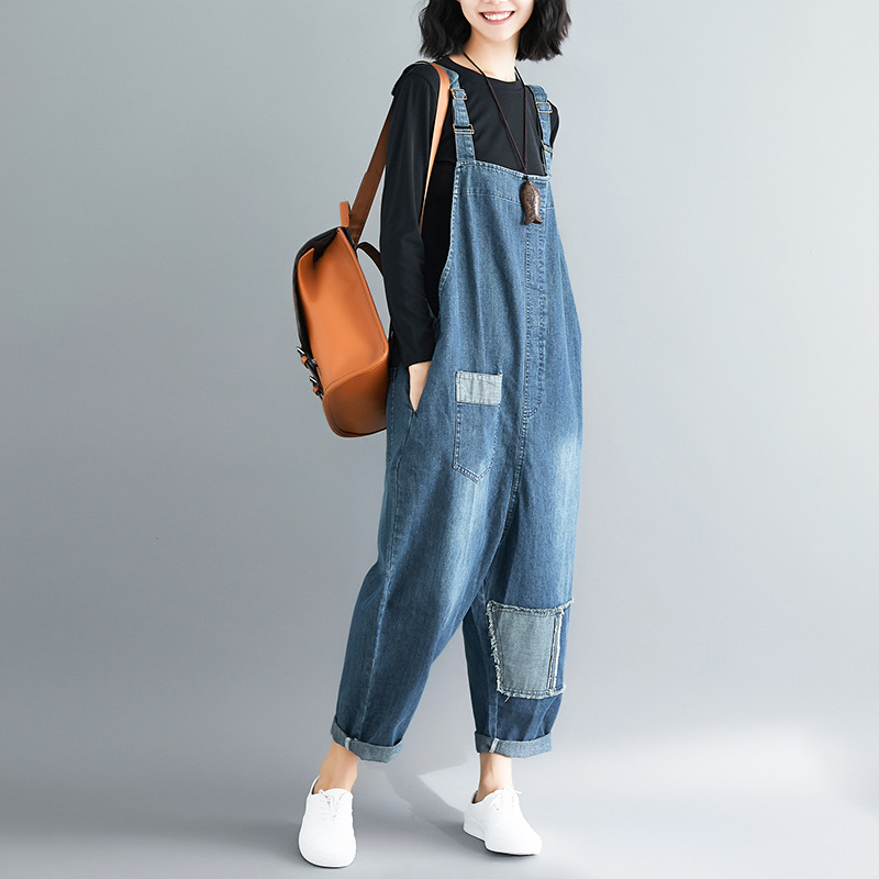 Photo Shoot Literature And Art Large Size Loose-Fit Shoulder Strap Jeans Hanging-Backed Onesie