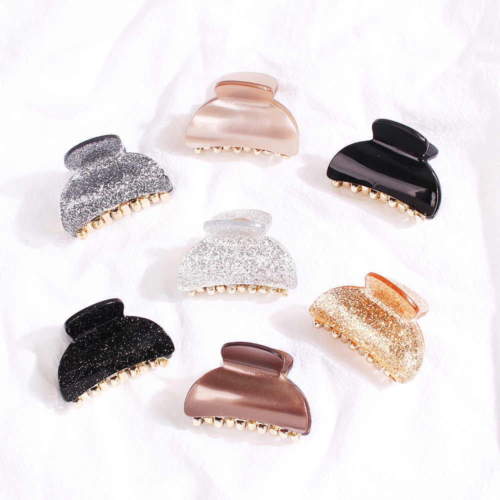 1Pc Vintage Shiny Acrylic Hair Claw Hairpin Simple Bath Hair Clip Black Silver Solid Girls Hair Crab Hair Accessories Small size