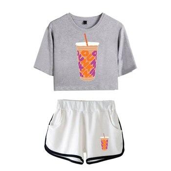 New Charli DAmelio Ice Coffee Splatter Women Two Piece Set Shorts+lovely T-shirt Sexy charli damelio merch Sport suit Girl 15