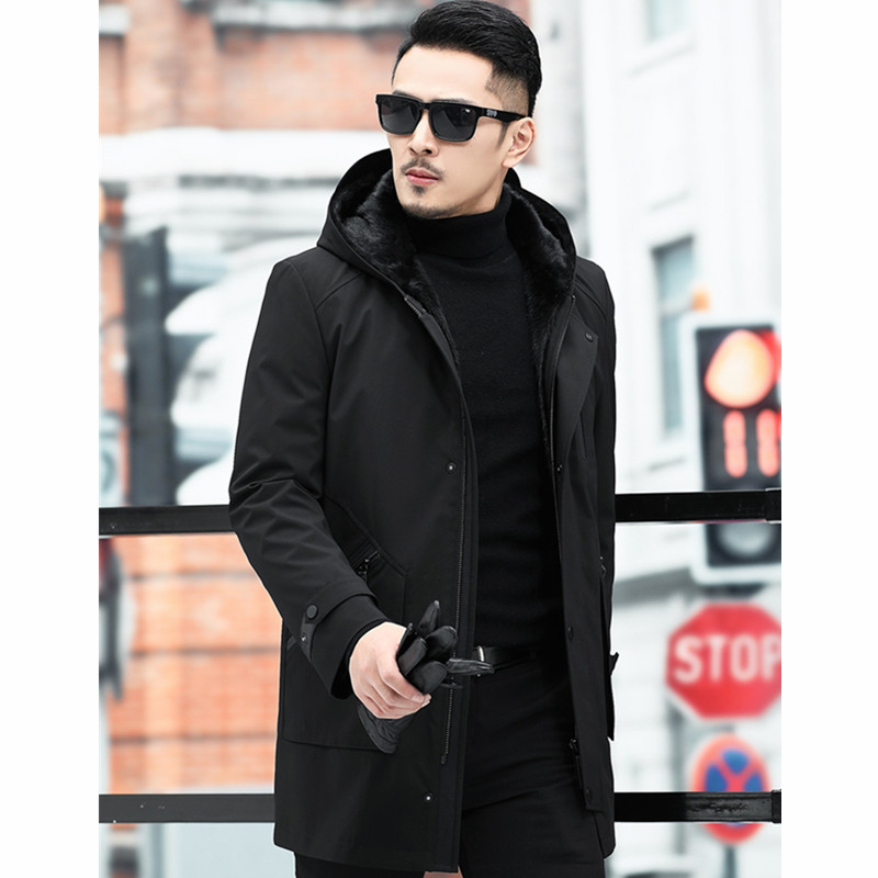 Coat Korean Mink Hooded Winter Jacket Men Real Fur Parka Plus Size Casaco 11-921903 YY1152