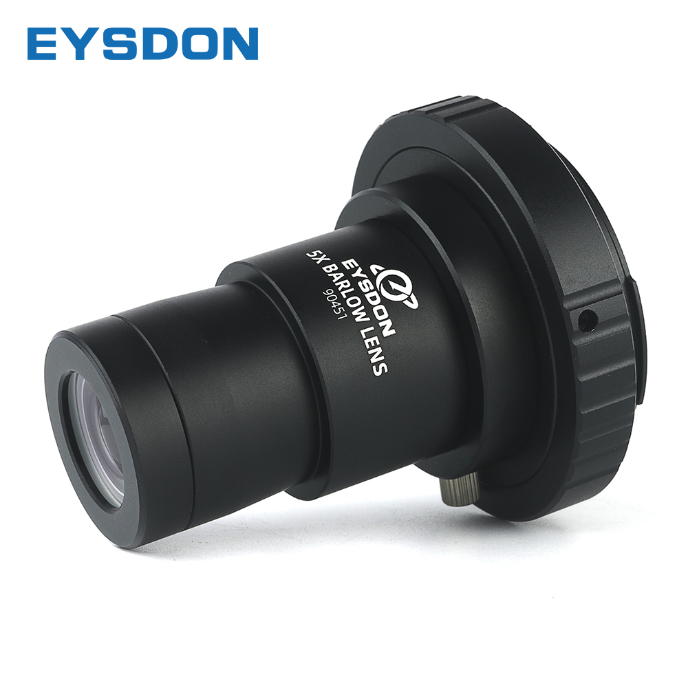 EYSDON 5X Barlow Lens 1 25inch Metal Fully Coated Focal Length Extender With M42 Camera T2 T Ring Adapter For Telescope Photography