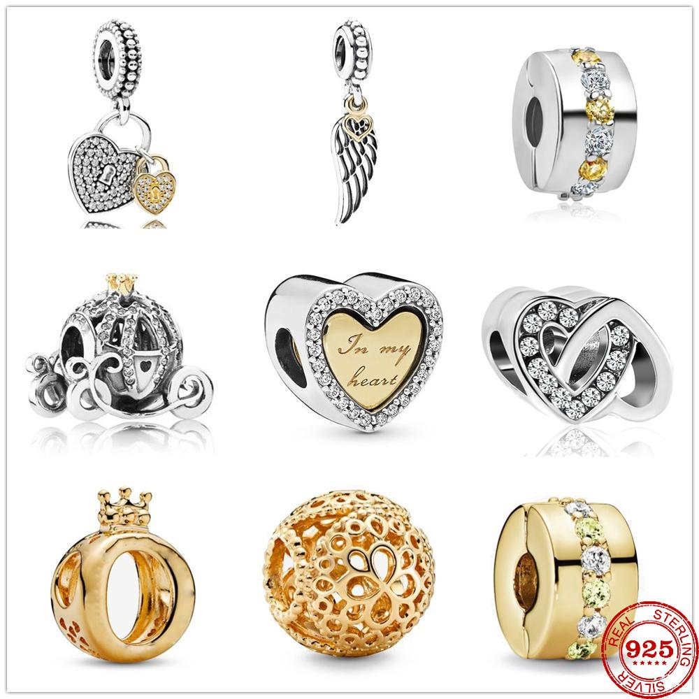 2020 New Original lock to heart angel wings pendant Bead fit Pandora charms silver 925 beads Bracelet for women fashion jewelry(China)